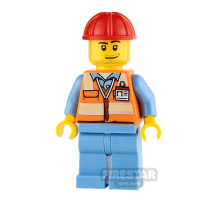LEGO City Mini Figure - Airport - Safety Vest and Stubble