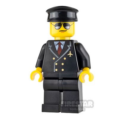 LEGO City Mini Figure - Airport - Pilot with Black and Silver Sunglasses