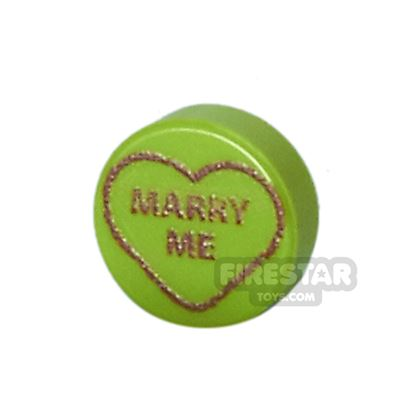 Printed Round Tile 1x1 - Brick Hearts - Marry Me