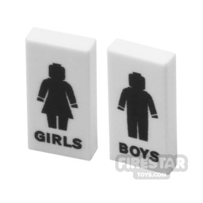 Printed Tiles 1x2 - Toilet Signs
