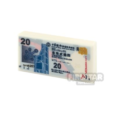 Printed Tile 1x2 - Chinese Money - 20 HKD Note