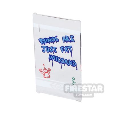 Printed Window Glass 1x4x6 - Bus Stop Window With Graffiti