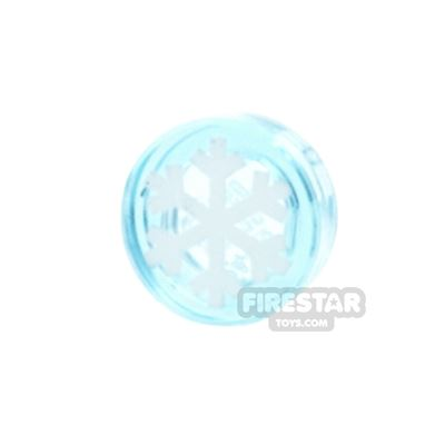 Printed Round Tile 1x1 - Snowflake - Trans Light Blue