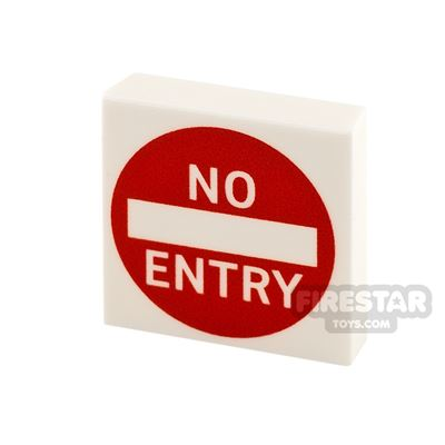Printed Tile 2x2 No Entry Sign