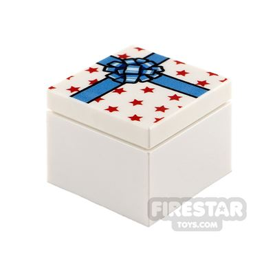 Printed Box 2x2 White Present with Blue Ribbon