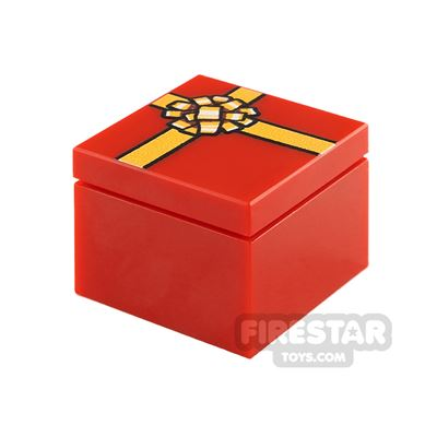Printed Box 2x2 Red Present with Gold Ribbon