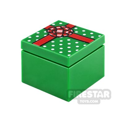 Printed Box 2x2  Green Present with Red Ribbon