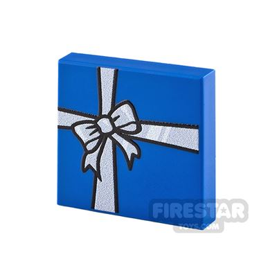 Printed Tile 2x2 Blue Present with Silver Ribbon