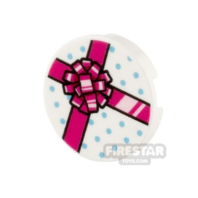 Printed Round Tile 2x2 White Present with Pink Ribbon
