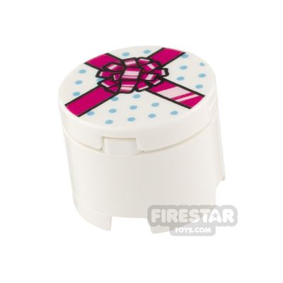 Printed Round Box 2x2 White Present with Pink Ribbon