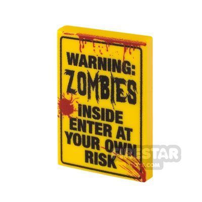 Printed Tile 2x3 Zombie Warning Sign