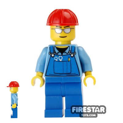 LEGO City Mini Figure - Blue Overalls and Sunglasses