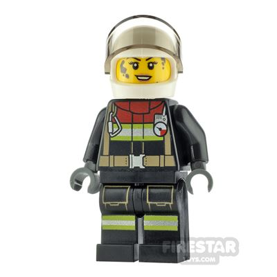 LEGO City Minfigure Firewoman with Dark Red Collar