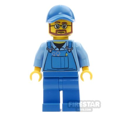 LEGO City Mini Figure - Blue Overalls - Beard And Glasses