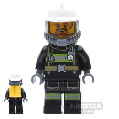 LEGO City Mini Figure - Fireman - Goatee And Soot Marks