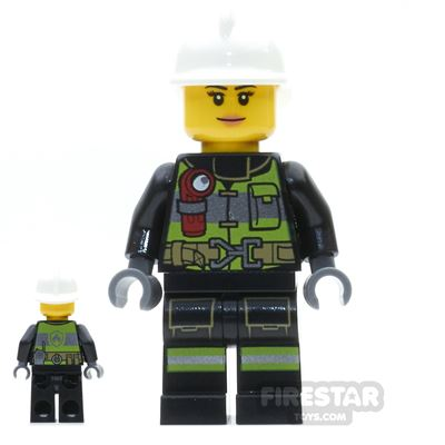 LEGO City Mini Figure - Firewoman - Utility Belt and Flashlight