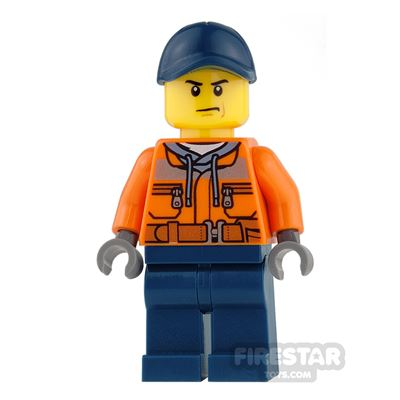 LEGO City Mini Figure - Construction Worker with Dark Blue Cap