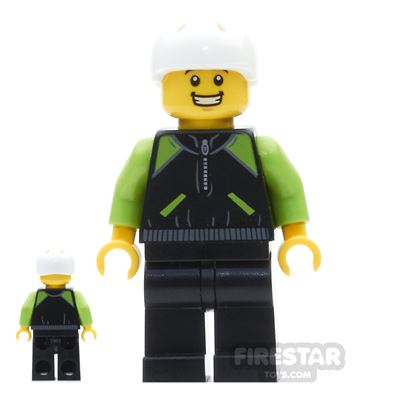 LEGO City Mini Figure - Cyclist - Lime and Black Jacket