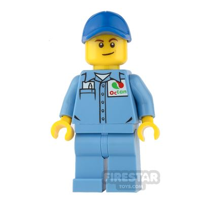 LEGO City Mini Figure - Octan Shirt with Lopsided Smile