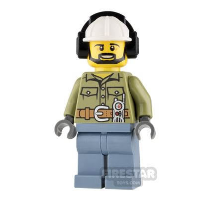 LEGO City Mini Figure - Volcano Explorer - White Helmet with Ear Protectors