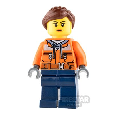 LEGO City Mini Figure - Cargo Center Worker - Female with Peach Lips