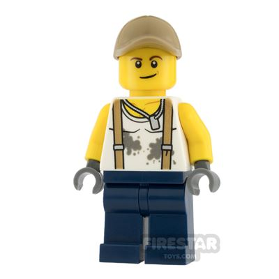 LEGO City Mini Figure - Jungle Engineer - Suspenders and Dirt Stains