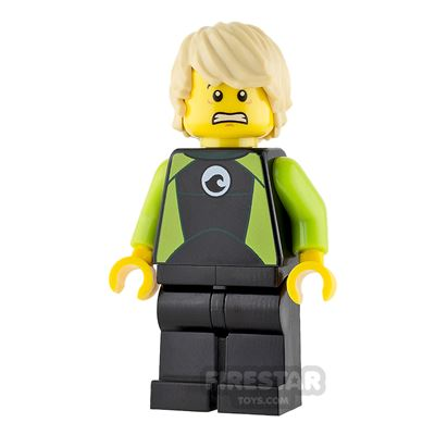 LEGO City Mini Figure - City Coast Guard - Surfer in Black and Lime Wetsuit