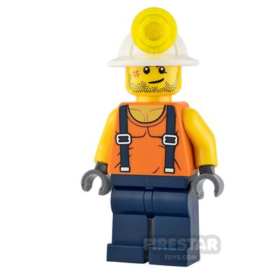LEGO City Mini Figure - Miner - Shirt with Straps and Stubble