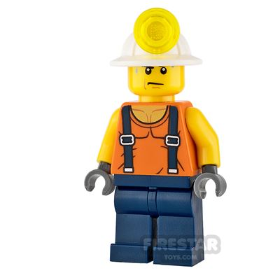 LEGO City Mini Figure - Miner - Shirt with Straps and Sweat Drops