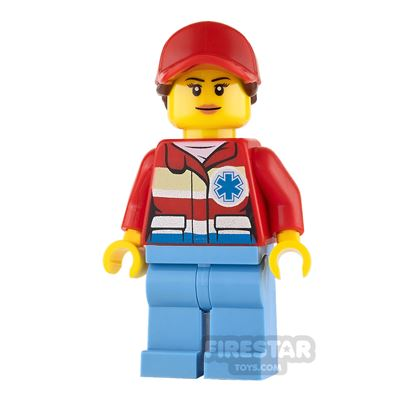 LEGO City Mini Figure - Paramedic - Red Cap with Brown Ponytail