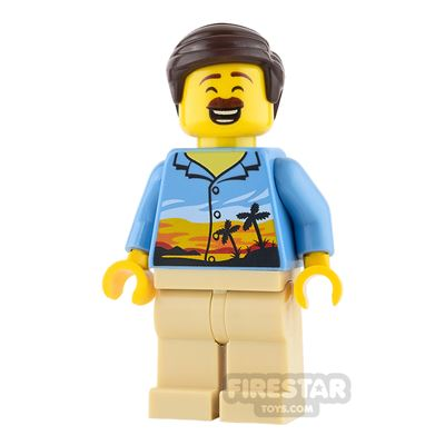 LEGO City Mini Figure - Hawaiian Shirt and Moustache