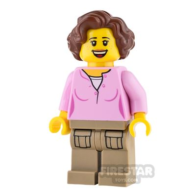LEGO City Mini Figure - Pink Top and Reddish Brown Wavy Hair