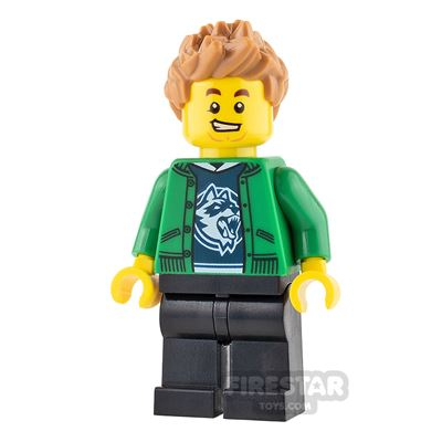 LEGO City Mini Figure - Green Jacket and Spiked Hair
