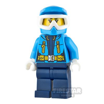 LEGO City Mini Figure - Arctic Explorer - Dark Azure Dirt Bike Helmet