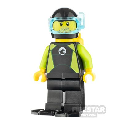 LEGO City Minifigure Diver with Lime Wetsuit