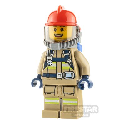 LEGO City Minifigure Fireman with Reflective Stripes