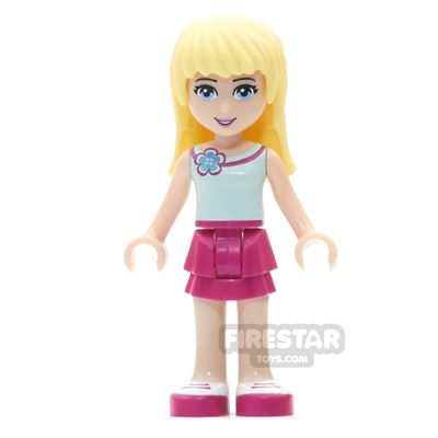 LEGO Friends Mini Figure - Stephanie - Light Aqua Top With Flower