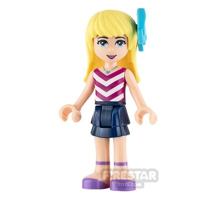 LEGO Friends Mini Figure - Stephanie - Magenta and White Striped Top