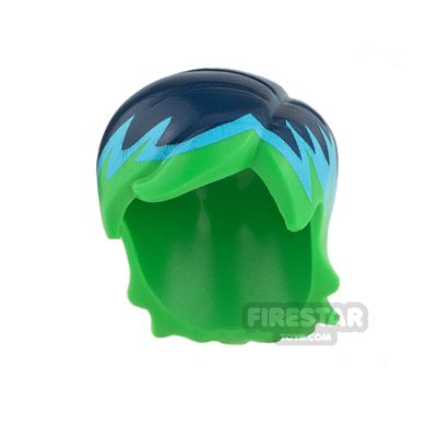 LEGO Hair - Side Part - Dark Blue with Light Blue and Green Streaks