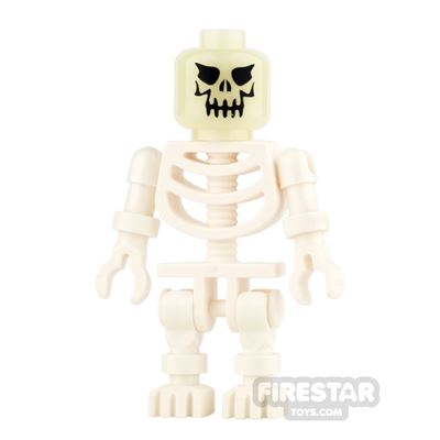 LEGO Mini Figure - Evil Skeleton - Glow In The Dark Head