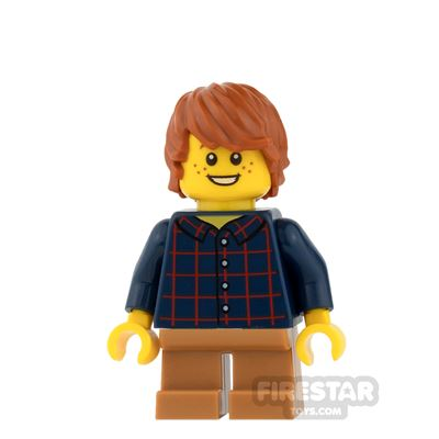 LEGO City Mini Figure - Plaid Shirt and Medium Dark Flesh Short Legs