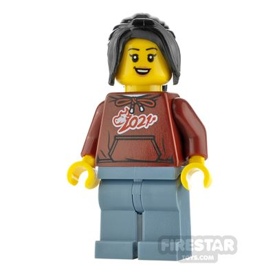 LEGO City Minifigure Woman with Ox Hoodie