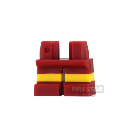 LEGO Mini Figure Legs - Short - Dark Red Shorts with Yellow Stripes