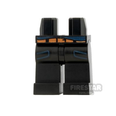 LEGO Mini Figure Legs - Black with Blue Pockets and Skirt Tail