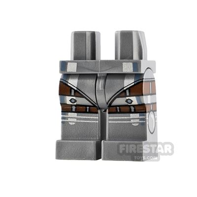 LEGO Minifigure Legs Silver Armour and Reddish Brown Stripes