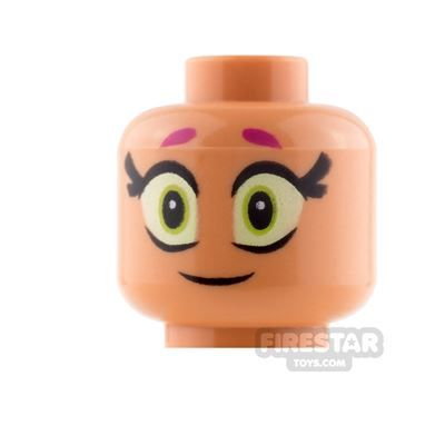 LEGO Mini Figure Heads - Starfire - Large Eyes and Smile / Scared