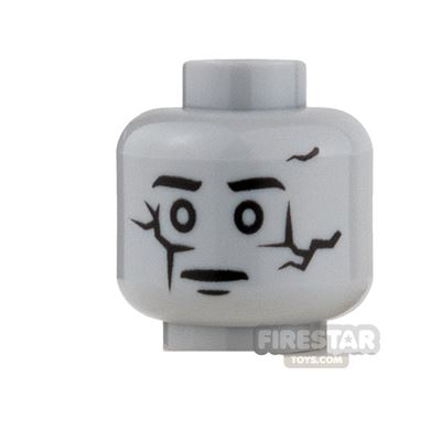 LEGO Mini Figure Heads - Cracked Statue / Ghost Face with Scowl