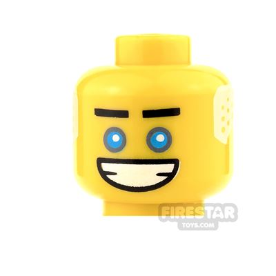 LEGO Mini Figure Heads - Blue Eyes with White Hair and Big Grin