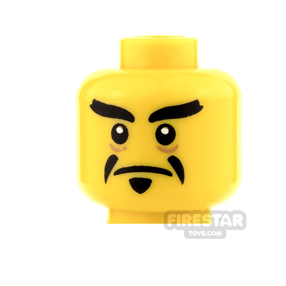 LEGO Minifigure Head YELLOW Male Dual Sided Pointed Goatee//Open Mouth Angry