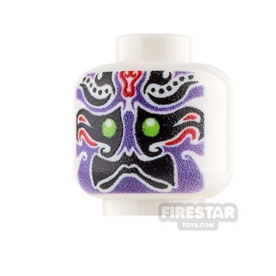 Custom Minifigure Heads - Chinese Opera Mask - Purple